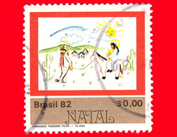 "BRASILE - Usato - 1982  - Natale - ""Sacra Famiglia"" (F. T. Filho) - 30.00 - Oblitérés"