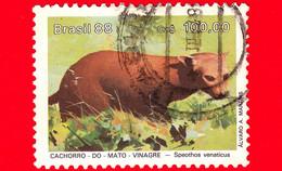 BRASILE - Usato - 1988 - Animali - Conservazione Della Fauna Selvatica - Speoto -  Cachorro Do Mato Vinagre - 100.00 - Oblitérés