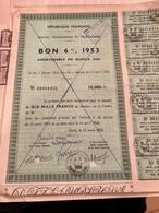 POSTES , TÉLÉGRAPHES  Et  TÉLÉPHONES --------Bon  6 %  1953 - Ohne Zuordnung