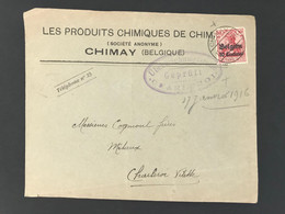 Briefomslag OC3 CHIMAY (BELGIEN) Gepruft Uberwachungsstelle CHARLEROI - [OC1/25] Gen.reg.