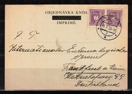 126Y * TSCHECHOSLOWAKEI * KARTE VON NITRA NACH FRANKFURT * 1938 **!! - Briefe U. Dokumente
