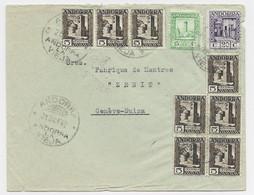 ANDORRA 5C BLOC DE 4+3+ 20C+15C DEFAUT LETTRE COVER ANDORRA 21 DIC 1942 ANDORRA LE VIEJA + CENSURA TO HELVETIA SUISSE - Cartas