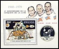 BL 84** (968) - 10e Anniversaire De La Conquète De La Lune / 10e Verjaring Van De Maanverkenning - RWANDA - 1980-89: Neufs