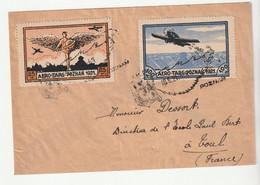 POLOGNE - LETTRE POSTE AERIENNE  - VIGNETTES AERO TARG POZNAN 1921 - Flugzeuge