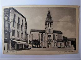 FRANCE - PYRENEES-ATLANTIQUES - ORTHEZ - Place Et Eglise Saint-Pierre - 1953 - Orthez