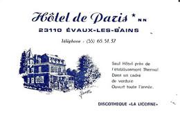 """23   EVAUX  LES BAINS  -  HOTEL DE PARIS  , """" DISCOTHEQUE  LA LICORNE  """" ( Carte  De Visite ) - Evaux Les Bains"""