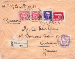 LR Milano 4/5/1929 Aff 7 Lire Dont 5l Louve Pour Amiens France Envoi 900F Timbres-poste Taxés En Douane Boulogne-sur-Mer - Marcofilía