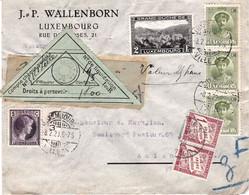 2F Clervaux Et 3 X 15c Et 5c Princesse Charlotte Envoi Luxembourg 8/2/1929 Pour Amiens France Taxé En Douane Boulogne - Covers & Documents