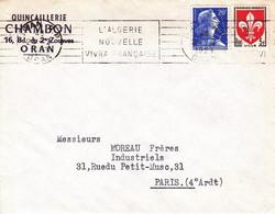 Algérie LSC Chambon Oran 24/02/1959. Flamme Algérie Française / YT 1011B - Lettres & Documents