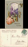 Ansichtskarte  Ostern - Goldprägekarte Kleeblatt Osterei 1910 Goldrand - Easter