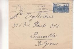 France - Lettre De 1947 - Oblit Nice - Exp Vers Bruxelles - Palais Du Luxembourg - Briefe U. Dokumente