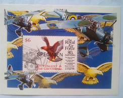 Tje Royal Air Force 80th Anniversary Specimen S/S - St.Vincent & Grenadines