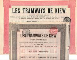 """Deux Titres """"Les Tramways De Kiew"""" - Une Action De Dividende Et Une  De Capital - Kiev - Ukraine - 1905. - Ferrocarril & Tranvías"""