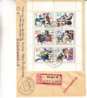 Allemagne - République Démocratique - Lettre Recom De 1967 - Oblit Dresden - Contes - Valeur 60 Euros - Cartas