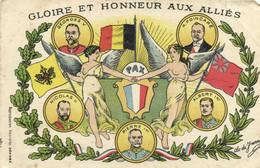 Militaria Patriotique Illustrateur Signé GLOIRE ET HONNEUR AUX ALLIES  GEORGES V  POINCARE  NICOLAS II  PIERRE I  ALBERV - Patriottisch
