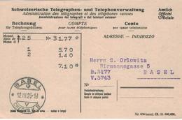 Postsache Telegraphen & Telephonverwaltung Amtlich Officiel 1925 > Orlowitz Basel Rechnung Gebühren - Officials