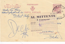 DDY 684 -- Collection THOUROUT - Entier Lion Héraldique 1967 Vers COMO Italie - Etiquette RETOUR Al Mittente - Cartes Postales [1951-..]
