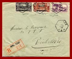 """AEF Lettre Recommandée Oblitérée """" P.K.102 """" Moyen-Congo Pour Pointe Noire  24/9/1938.Ligne Chemin De Fer Congo-Océan - Lettres & Documents"""