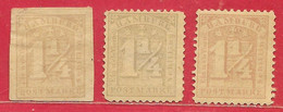 Hambourg N°8 & N°11 (x2) 1,25s Réimpressions/reprints (sans Filigrane/without Watermark) 1864-65 (*) & * - Hambourg
