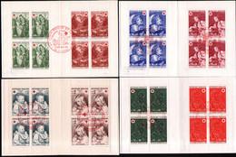 4 Carnets Croix Rouge 1965, 70, 71, 72 Avec Obliteration 1er Jour - Red Cross