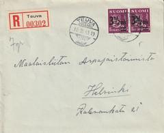 Finlande Lettre Recommandée Teuva 1943 - Cartas
