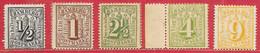 Hambourg N°13 0,5s, N°14 1s, N°16 2,5,  N°18 4s, N°21 9s 1864-65 (*) - Hambourg