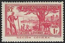 COTE D'IVOIRE   1936-38 -  Y&T  124a - Région Côtière  -  NEUF* - Neufs