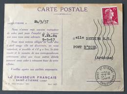 France N°1011 Sur Carte Postale, TAD ST-ETIENNE MANUFACTURE 24.9.1957 - (B3775) - 1921-1960: Modern Tijdperk