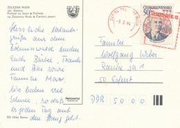 Tschechoslowakei Zelezna Ruda TGST Rot 1984 Mi. 2717 Militär Kommandeur Der Sowjetarmee Konew - Postkarte Nach DDR - Cartas