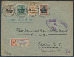 Briefomslag Recommande Met OC11, 12, 13, 19 BRUSSEL SOZIALE FURSORGE AUSSTELLUNG - Gepruft - [OC1/25] Gen.reg.