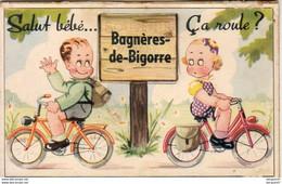 D65  BAGNÈRES DE BIGORRE  Salut Bébé.. Ça Roule ??? ....  Carte à Système Avec Dépliant De Petites Photos Complet .vélo - Met Mechanische Systemen