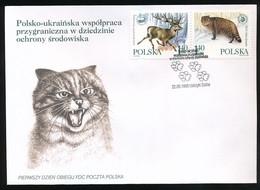 POLAND FDC 1999 EASTERN CARPATHIAN MOUNTAINS UNESCO BIOSPHERE RESERVE DEER WILD CAT UKRAINE SLOVAKIA PROTECT ENVIRONMENT - FDC