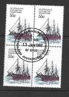 Australian Antarctic Territory AAT 1979 - 1981 Ships 55c Discovery FU Block Of 4 Mawson Base Cds - Usados