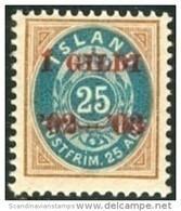 IJSLAND-ICELAND 1902 Opdruk Rood 1GILDI Op 25aur Tanding 12¾ PF-MNH - Unused Stamps