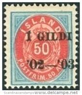 IJSLAND-ICELAND 1902 Opdruk Zwart 1GILDI Op 50aur Tanding 12¾ PF-MNH - Unused Stamps