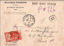! 1938 Reco Lettre Réunion, Einschreiben, Registered Letter, Saint Denis, La Reunion, Paris - Cartas