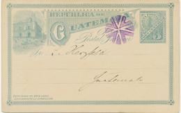 GUATEMALA 1890 3 C Blau Luxus-GA-Postkarte M. Viol. Sog. Stummen Stpl. Entwertet - Guatemala