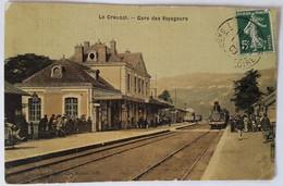 Carte Postale Le Creusot Gare Des Voyageurs Animée Train En Gare - Le Creusot