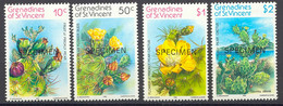 GRENADINEN VON ST. VINCENT 1982 Feigenkaktus, Postfrische Kab.-Satz SPECIMEN - St.Vincent & Grenadines