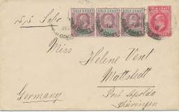 GOLD COAST 1906 Edward VII 1D Postal Stationery Env Uprated 1/2D (3x) SS SOBO - Goldküste (...-1957)
