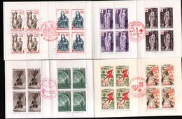 4 Carnets Croix Rouge 1975, 76, 82, 83 Avec Obliteration 1er Jour - Red Cross