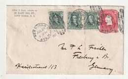 USA - 1907 - Ganzsachenumschlag Mit Zusatzfrankatur New York Nach Freiburg (1/263) - 1901-20