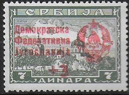 YUGOSLAVIA  -1944 - F.BOLLI SERBIA SOVRASTAMPATI - 3/7 D - MINT MNH** (YVERT 402 - MICHEL 453II) - Unused Stamps