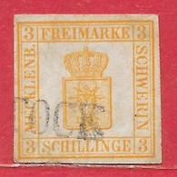 Mecklembourg-Schwerin N°2 3s Jaune (ROSTOCK) 1856 O - Mecklenburg-Schwerin