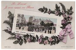 CPA 56 - LORIENT (Morbihan) - De Lorient Je Vous Envoie Ces Fleurs (Place Bisson, Rue Des Fontaines) - Coll. Villard - Lorient