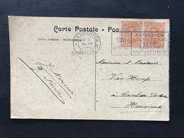 Postkaart Met OBP 135 1c Oranje - Vlagstempel VIIe Olympiade Antwerpen 1920 - 1915-1920 Alberto I