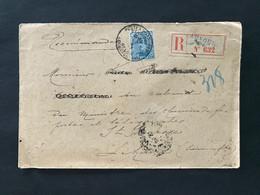 Briefomslag OBP 141 25c Blauw - POSTES MILITAIRES BELGIQUES - Recommande AUVOURS 632 - 1915-1920 Alberto I
