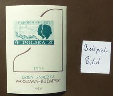 Polen 1956  Mi-Nr. Block 19  981  Tag Der Briefmarke. Frédéric Chopin  Franz Liszt  Postfrisch ** MNH   #5448 - Ongebruikt