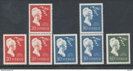 Sweden 1958 Facit # 497-499. Selma Lagerlöf. Complete Set Of 7, Incl. BB-pairs,  MNH (**) - Nuovi
