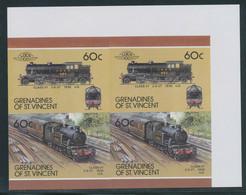GRENADINES OF ST. VINCENT 1987 Locomotives 60 C (4) U/M Se-tenant IMPERFORATED - St.Vincent & Grenadines